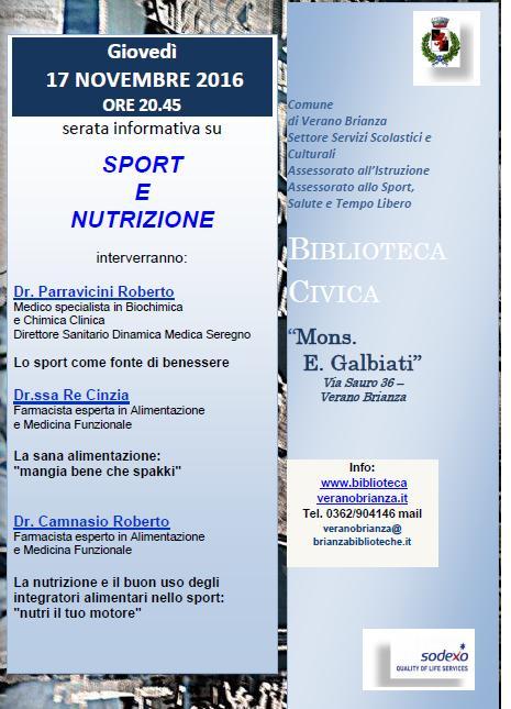 """La Salute in """"Comune"""": SPORT & NUTRIZIONE"""