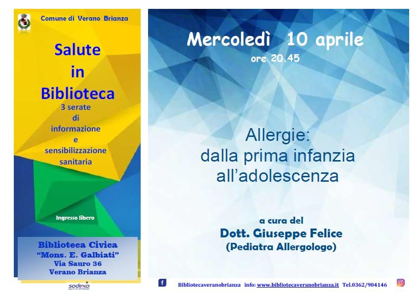 "SALUTE IN BIBLIOTECA – ""ALLERGIE: DALLA PRIMA INFANZIA ALL'ADOLESCENZA"""