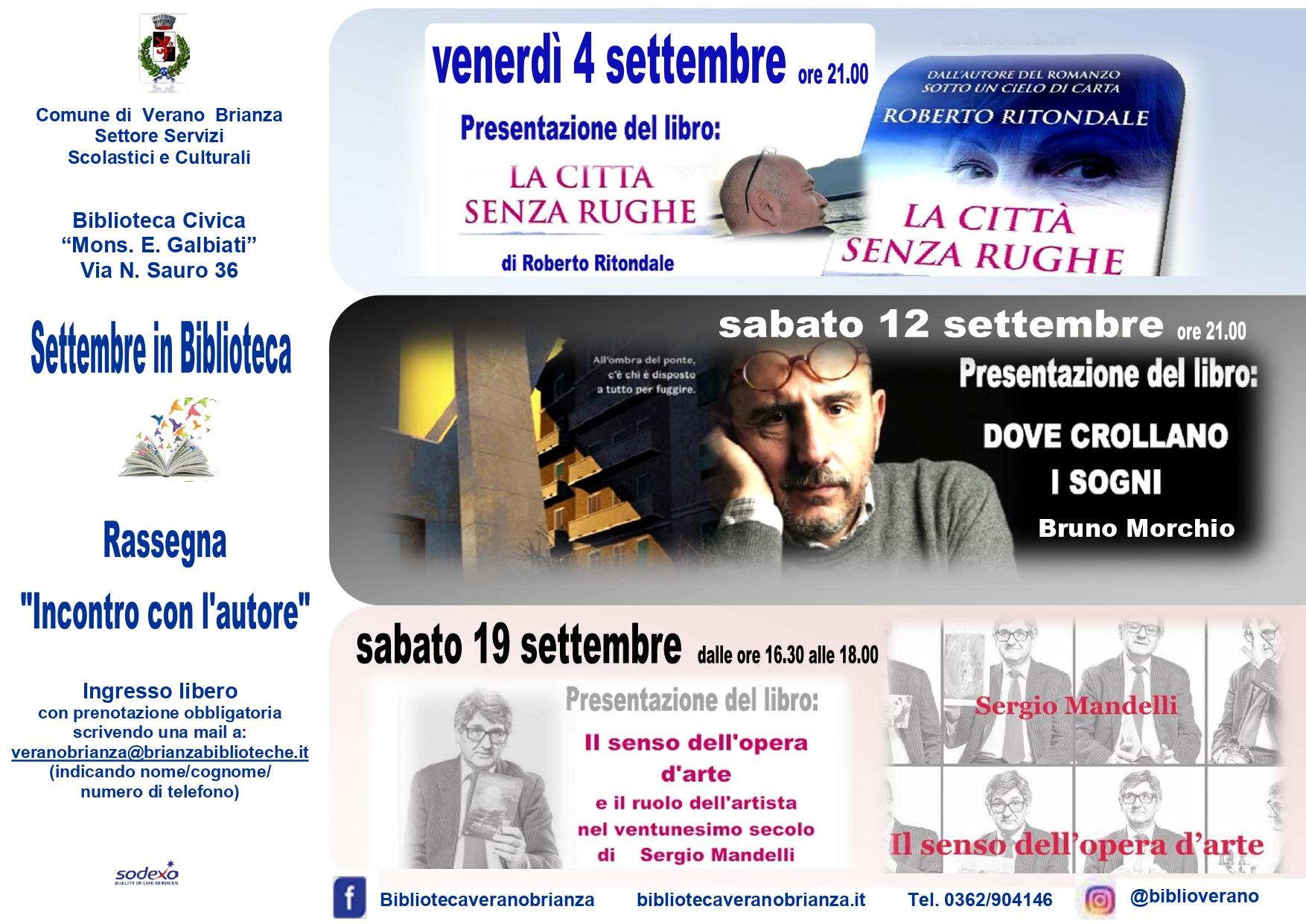 """Settembre in biblioteca: Rassegna """"INCONTRO CON L'AUTORE"""""""